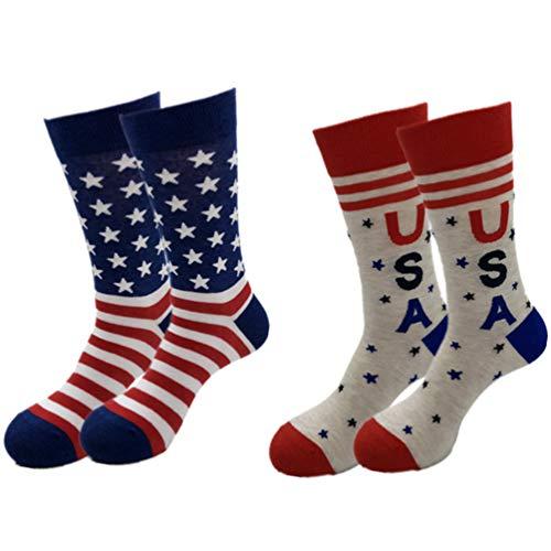 KESYOO 2 Paar USA-Flaggen-Socken mit Sternaufdruck, lange Strümpfe, kniehohe Socken, Sportsocken, Verkleide-Requisiten