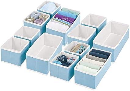 mDesign Juego de 12 cajas organizadoras – Cestas de tela para almacenaje en cajones de diferentes tamaños – Organizadores para armarios para guardar calcetines, ropa interior y más – azul claro/blanco