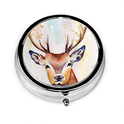 Reindeer David Deer Ink Painting Vintage Novelty Round Pill Box Pocket Medicine Tablet Holder Organizer Case for Purse Unique Gift