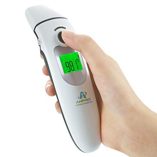 Hospital Medical Grade Digital Infrared Forehead & Ear Thermometer + Pouch for Adult/Baby/Kid/Toddler/Infant/Nurse. Amplim Best for Head Fever Temperature Temporal Termometro