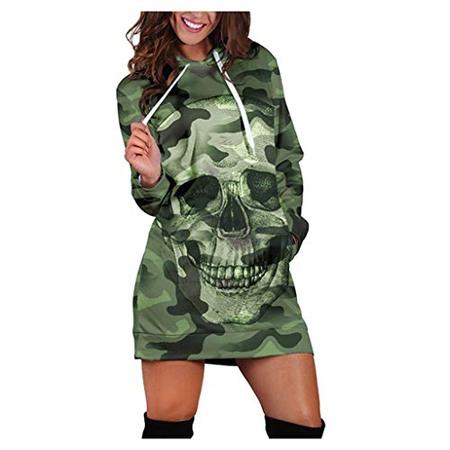Women Dress QUINTRA Camouflag Skull Print Casual Pocket Dress Knee Length Round Neck Evening Party Solid Long Sleeve Pocket Mini Sweater Dress(Green,M)