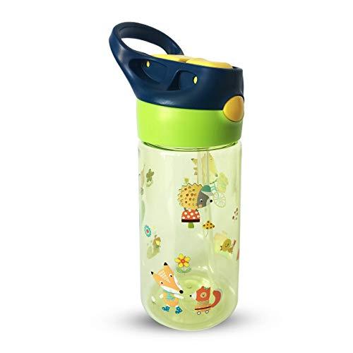 AMTBABY Botella de Tritan reutilizable con sistema antigoteo de 450ml. Facil Apertura. Sin BPA para uso diario y aprendizaje de Bebes y Niños (Zorro)