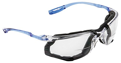 3M 10078371662711 Virtua CCS Protective Eyewear with Foam Gasket and Reader Lens, Standard, Blue with Clear Lens