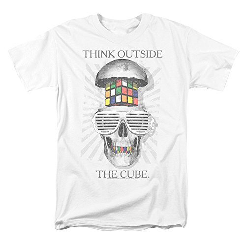 Skull with Shutter Shades Rubik's Cube T Shirt & Stickers (White) Medium