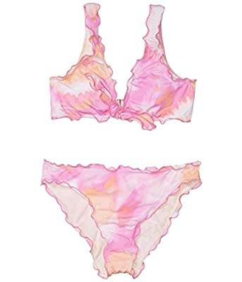 Hobie Girls' Big Bralette Top and Hipster Bikini Bottom Swimsuit Set, Pink//high Tie Dye, 14
