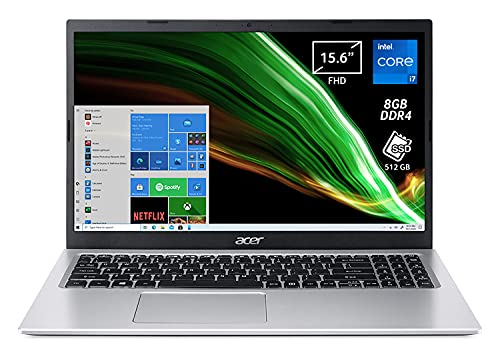 Acer Aspire 3 A315-58-78WJ PC Portatile, Notebook con Processore Intel Core i7-1165G7, RAM 8 GB DDR4, 512 GB PCIe NVMe SSD, Display 15.6  FHD LED, Scheda Grafica Intel Iris Xe, Windows 10 Home, Silver