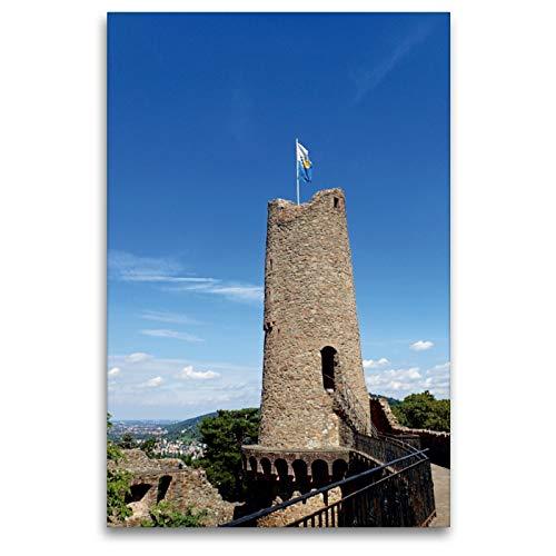 CALVENDO Premium Textil-Leinwand 80 x 120 cm Hoch-Format Burgfried der Burgruine Windeck in Weinheim an der Bergstraße, Leinwanddruck von Ilona Andersen