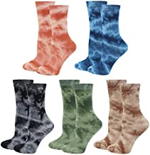 Lovful Women Crew Socks, Tie Dye Cotton Socks, Funny Novelty Colorful Socks for Women 5 Pairs