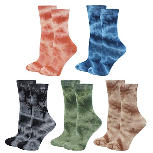 Lovful Damen Crew-Socken, Batik-Baumwollsocken, lustige, bunte Socken für Frauen, 5 Paar - - Einheitsgröße