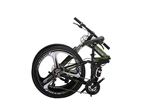 LOOCHO 21 Speed Foldable Mountain Bike 26 Inches 3-Spoke Wheel Dual Suspension Dual Disc Brake MTB Tire Bicycle