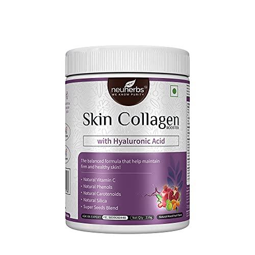 Neuherbs Plant-Based Skin collagen Booster with Hyaluronic acid, Vitamin-C, Ellagic Acid, Carotenoids, Silica & Super Seeds Blend for Anti-aging & Skin repair -210g (Natural Mixed fruit flavor)