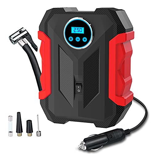 Abtigercars Digital Tyre Inflator,150 PSI 12V Portable Air Compressor with Tyre Pressure Gauge And LED, Car Tyre Pump with Auto Shut Off Feature for Car Bike Tires and Other Inflatables
