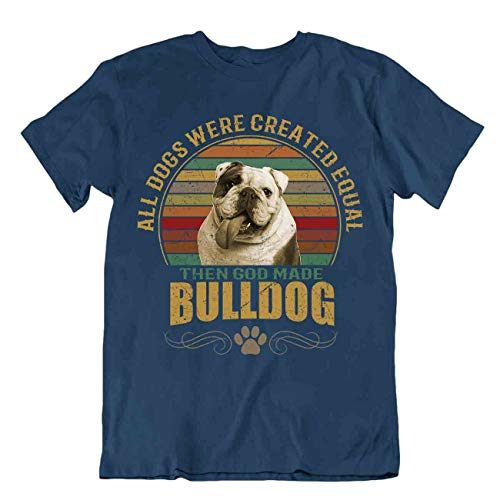 Hunde-T-Shirt mit Bulldoggen-Motiv, Geschenk für Hunde, Tierliebhaber, niedlich, Vintage-Stil - Blau - Medium