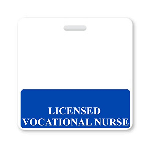Licensed Vocational Nurse Badge Buddy - Heavy Duty Horizontal Badge Buddies for Nurses - Spill & Tear Proof Cards - 2 Sided USA Printed Quick Role Identifier ID Tag Backer by Specialist ID