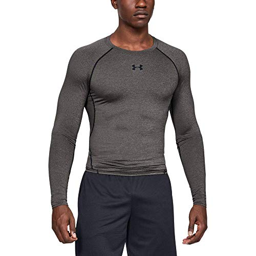 Under Armour UA HeatGear Long Sleeve, Maglia A Maniche Lunghe Uomo, Grigio (Carbon Heather/Black (090), L