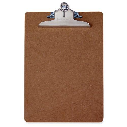 Saunders 05612 Hartfaser Klemmbrett, extra starke Klemme, Schreibplatte aus stabiler Holzfaser, beidseitig geschliffen, braun