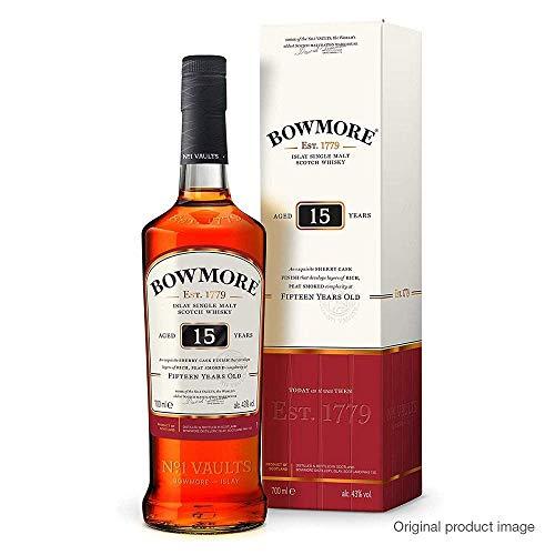 Bowmore 15 Jahre Islay Single Malt Scotch Whisky, mit Geschenkverpackung, rauchig mit einem Hauch von Sherry, 40% Vol, 1 x 0,7l