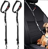 PETZANA Headrest dog car seat belt 2 Pack Adjustable Durable Headrest Seat belt Pet Dog Car Safety Harness Restraint with Elastic Nylon Bungee Buffer