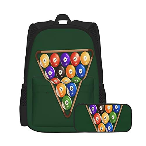 SDBUYW-ZQ Schulrucksack,Billardkugeln Snooker auf grünem Hintergrund Illustration zum Thema Sport, Bookbags für Kinder Teens College-Studenten und Federmäppchen zweiteilige Sets.