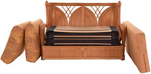 korb.outlet Edles Wohnzimmer Schlafsofa Prince Rattan-Sofa mit Schlaffunktion 2-Sitzer Liegesofa Rattansofa (Terracotta) - 4
