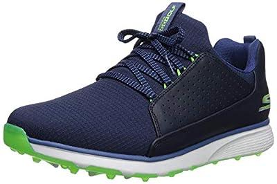 Skechers Men's Mojo Waterproof Golf Shoe, Navy/Lime Textile, 8 M US
