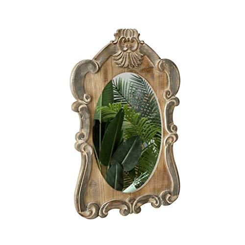 GAXQFEI Maison Décoration Mural Miroir Miroir À La Main, Bois Massif Créativité Miroir Décoratif Sculpture Rétro Maquillage Miroir Entrée Couloir Miroir Mural Maison Entrée Miroir Vanité,80 * 49.5Cm