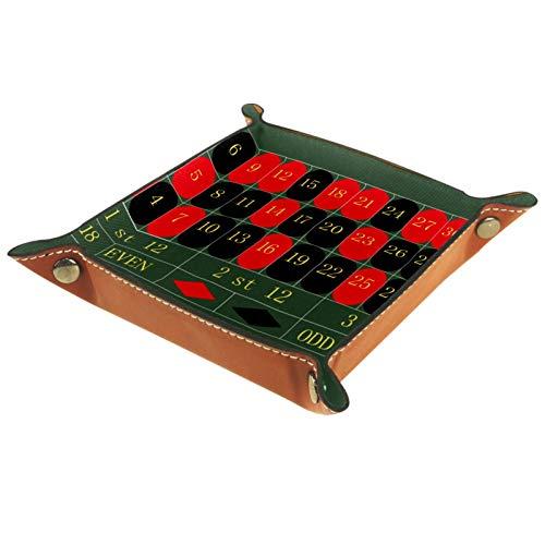 YATELI Kleine Aufbewahrungsbox,Herren-Valet-Tablett,Roulette Tisch,Leder Catchall Organizer für Coin Box Key Schmuck