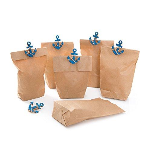 Set: 12 Stück Papiertüten braun 14 x 22 x 5,6 cm Tüten für Gäste und Kunden + 12 blaue maritime Schiffs-ANKER Deko-Klammern Zierklammern Wäscheklammern Fischklammern 5,5 x 4,5 cm give-away
