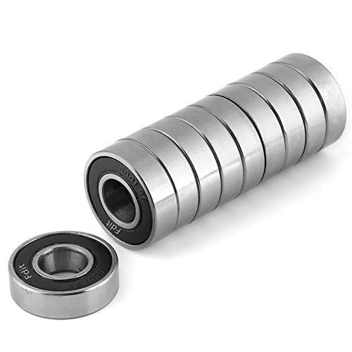 Rodamientos de precisión 10 piezas Durable, uso múltiple, sellado, caucho, ranura profunda 6001-2RS Rodamientos de bolas (12x28x8mm) Ranura profunda en miniatura de acero pre-lubricado