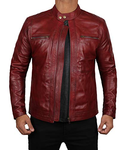 Fjackets Lambskin Leather Jackets Cafe Racer Black Leather Biker Jacket Mens| [1101395] Wine Red Leather Jacket Women,XL