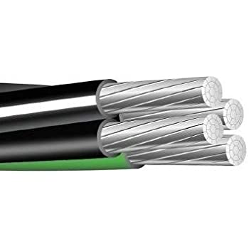 200/' Aluminum Quadruplex Cable URD 2-2-2-4 Dyke 600 Volt Wire 200/'
