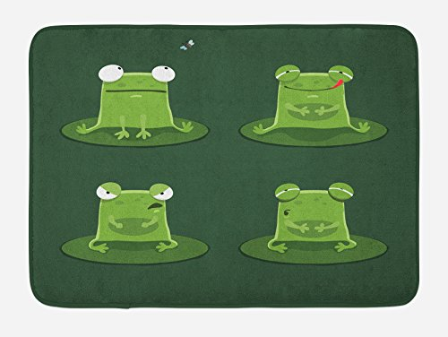 "Ambesonne Funny Bath Mat, Funny Muzzy Frog on Lily Pad in Pond Hunting Tasty Fly Expressions Cartoon Animal, Plush Bathroom Decor Mat with Non Slip Backing, 29.5"" X 17.5"", Hunter Green"