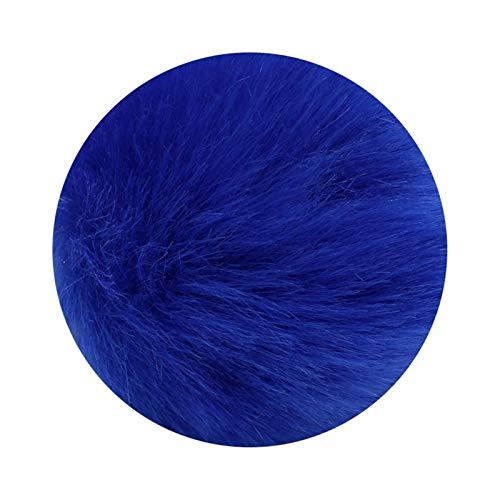 Llavero 8cm Fake Pour Pom Pom Llavero Pompon Llavero Llavero Llavero Cadenas de Oro Fox Fox Conejo Cadena de Piel a Stranger Things Llavero (Color : Royal Blue)