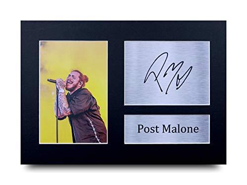 HWC Trading Post Malone A4 Sin Marco Regalo De Visualización De Fotos De Impresión De Imagen Impresa Autógrafo Firmado por Aficionados A La Música