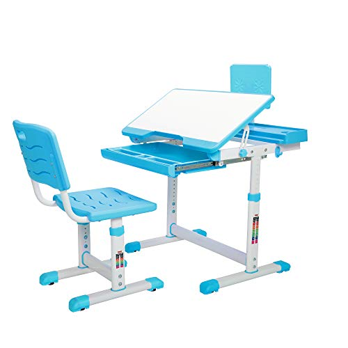 JAXPETY Kids Functional Desk and Chair Set, Ergonomic Student Workstation Table Height Adjustable Children School Study Desk w/Large Storage Book Stand and Bag Hook, Blue (Boy-Style)