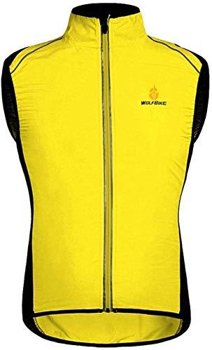 Heren Fietsen Gilet Ademende mouwen Running Vesten Lichtgewicht Waterdichte Reflective Jacket Vest for Lopen Fietsen Motoren (Color : Yellow, Size : Medium)