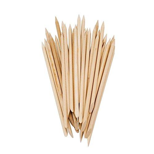 Beauty7 Lot de 5x100 Bâtons Repousse-cuticules en Bois Pousse Dotting Strass Pour Ongle Nail Art Tips Manucure