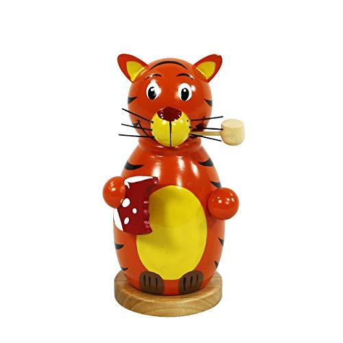 Dekohelden24 Niedliche Holz Räucherfigur Tiger, ca. 13 cm