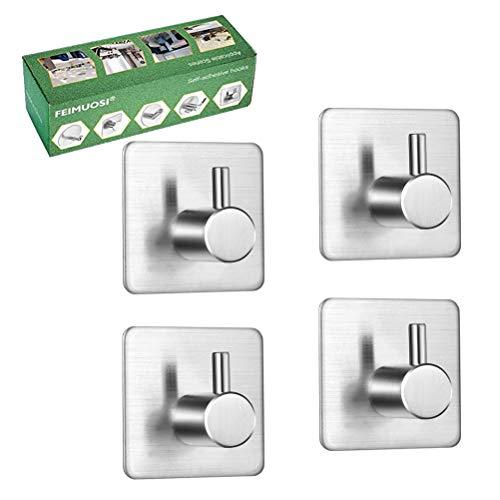 Ganchos Autoadhesivos 4 piezas, colgadores pared adhesivos inoxidable acero toalla ganchos adhesivos para pared, gancho de pared impermeable y resistente al aceite para baño, cocina y sala de estar.