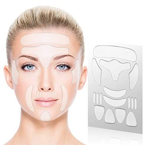 J TOHLO 16 Stücke Anti Aging Gesichts Anti-Falten-Patches Facial Patches Stirnfalten Pads Augen-Falten-Patches Stirn Falten Pads Wiederverwendbare Falten Entferner