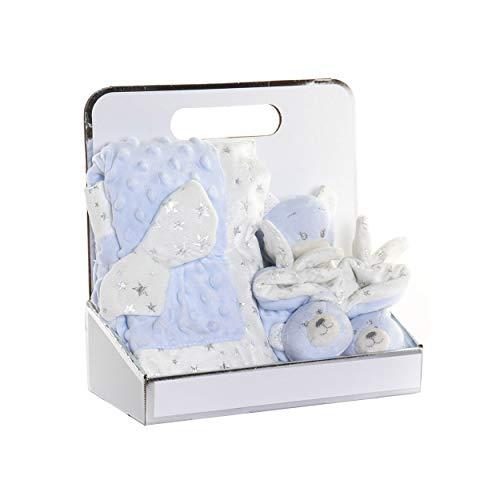 Peluche Oso con Manta y Patucos para Bebés, Regalo recién Nacido. Manta Bebé Suave 26x13x26 cm - Hogar y Más - Azul Claro