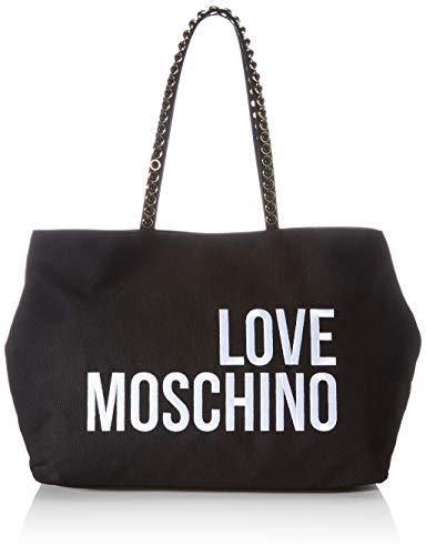 Love Moschino Damen Precollezione SS21 | Borsa Shopper in Canvas da Donna Umhngetasche, Schwarz, Einheitsgröße EU