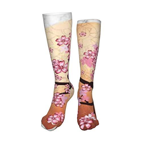 ZVEZVI Sakura Branch On Marble Calcetines deportivos de algodón para hombres y mujeres Cojín Casual con absorción de humedad 50 cm / 19,8 pulgadas