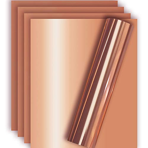 Rose Gold Metallic Foil HTV Heat Transfer Vinyl for Tshirt and Apparel 12 X 10( Pack of 5 ), Easy to Weed and Iron on, Guaranteed Size
