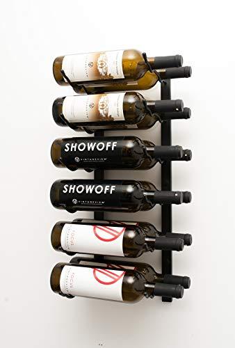 Serie de Pared de VintageView - Botellero de Vinos Montado en la Pared para 12 Botellas (Negro Satinado) Almacenamiento Moderno y Elegante de Vinos con Diseño Que Permite Tener la Etiqueta al Frente