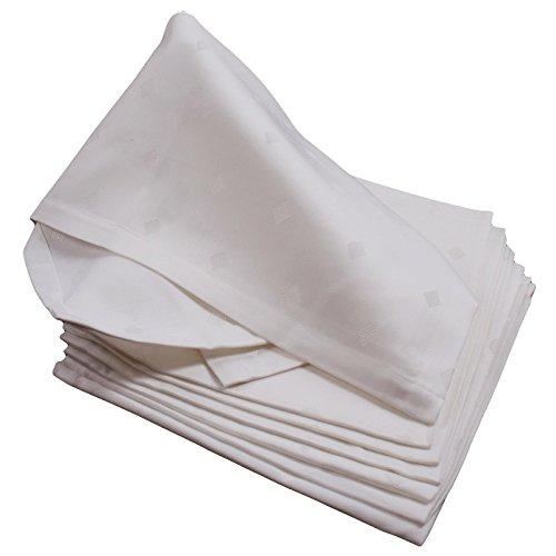 Hans-Textil-Shop Damast Serviette 50x50 cm, Rauten Weiß, Baumwolle Vollzwirn