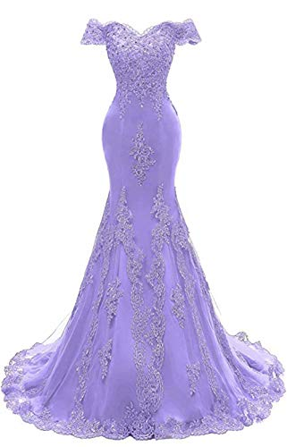 Off The Shoulder Prom Dresses Long Mermaid Sweetheart Beaded Lace Formal Evening Gowns for Women Lavender