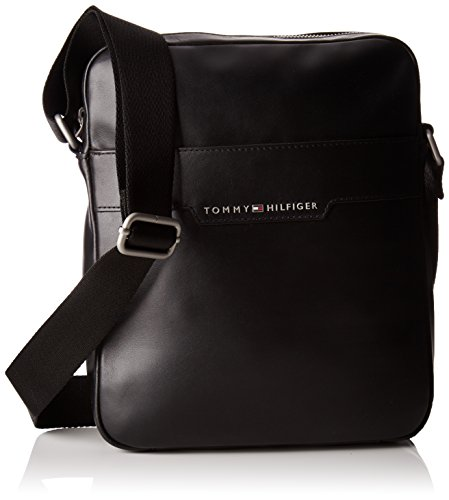 Tommy Hilfiger heren Smooth Leather Slim Reporter laptoptas, zwart (black), 5x8.5x10.5 cm