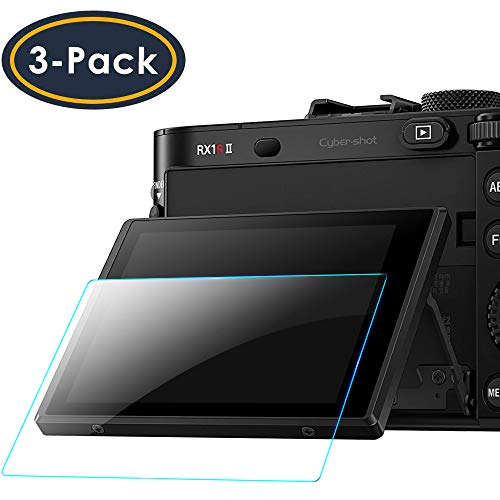 QIBOX Screen Protector Compatible with Sony RX100VIl RX100VI RX100III RX100 IV V RX 1R, a7RIV A9 a7II A7III A7IV a7SII a7SIII a7RII a7RIII Camera, 3-Pack LCD Anti-Scratch 9H Tempered Glass Shield