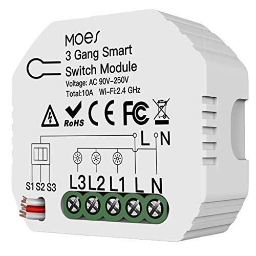 Runtodo Interruptor de Luz Inteligente WiFi MóDulo de 3 VíAs y 1/2 VíAs Life/Tuya App Control Funciona para Amazon Alexa y Home